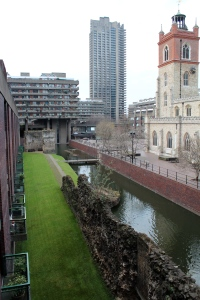 St Giles', London Wall remains, high and low-rise residences and pilotis.